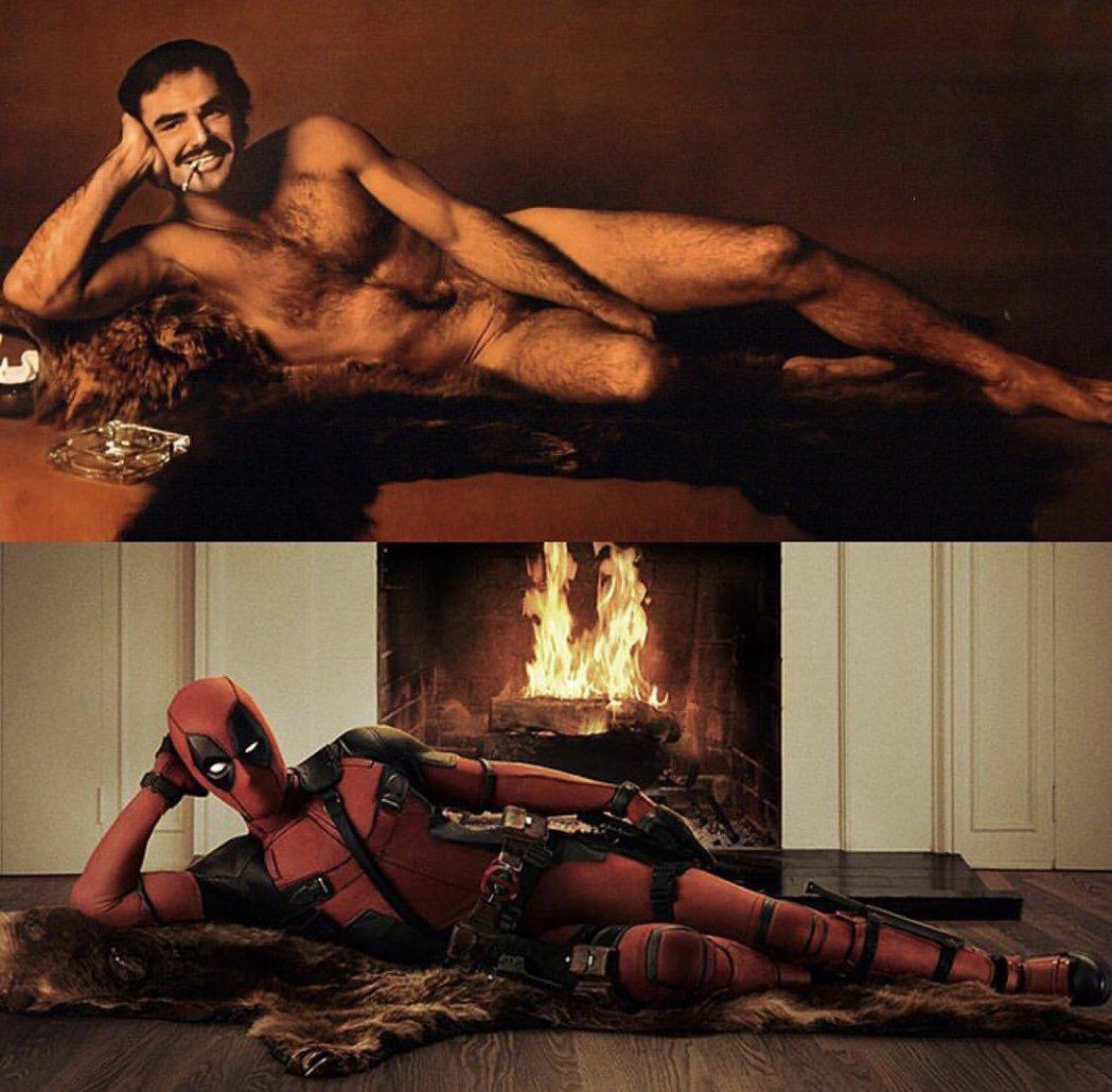 萊恩雷諾斯特別發布「死侍」和畢雷諾斯裸照的對比,向已逝前輩致意。圖/摘自twit...