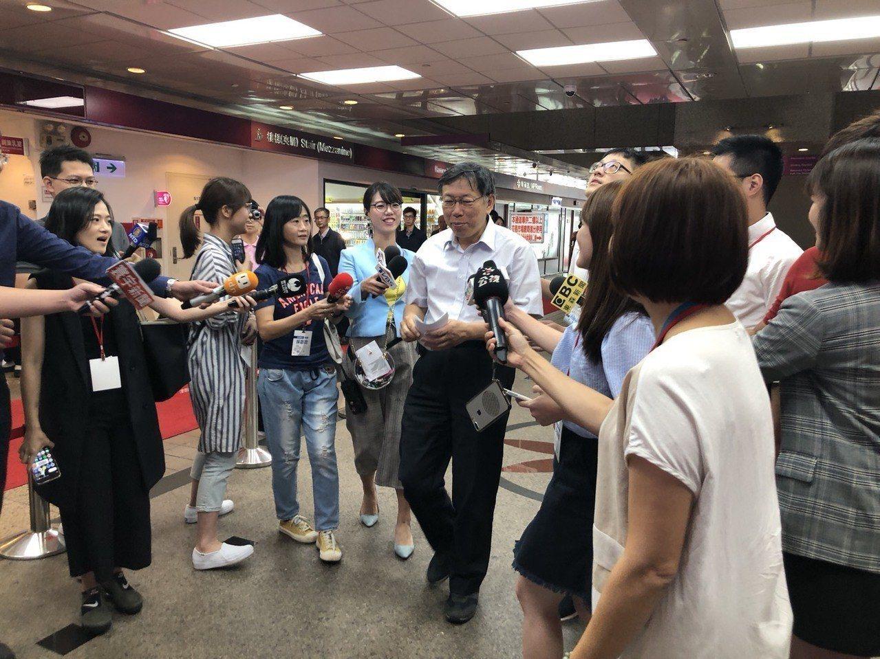 台北市長柯文哲今早出席活動談華山分屍案。記者陳靖宜/攝影