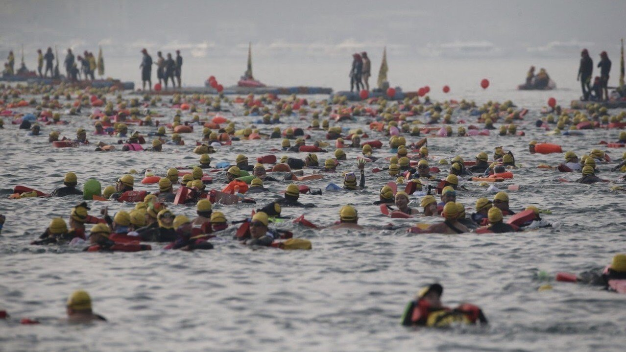 日月潭泳渡每年吸引國內外上萬名游泳愛好者參與,成了台灣體育盛事。圖/報系資料照