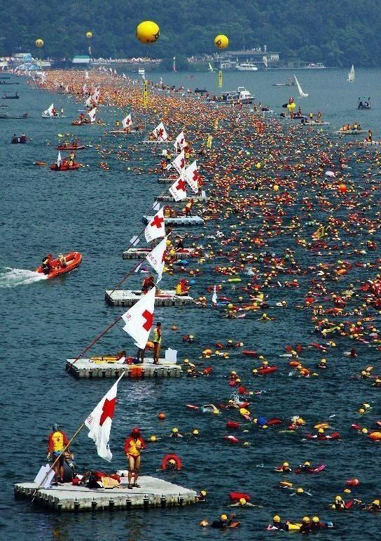 日月潭泳渡每年吸引國內外上萬名游泳愛好者參與,成了台灣體育盛事。圖/日管處提供
