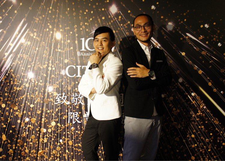 知名主持人黃子佼(左)與光影藝術家吳季璁(右)在星辰表活動,暢談時間的意義。圖/...