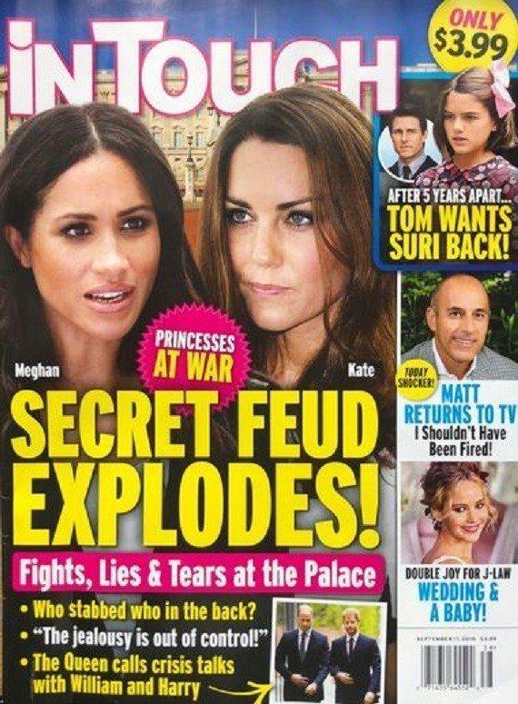 八卦雜誌指梅根與凱特私下不和,戰火一觸即發。圖/摘自iN TOUCH