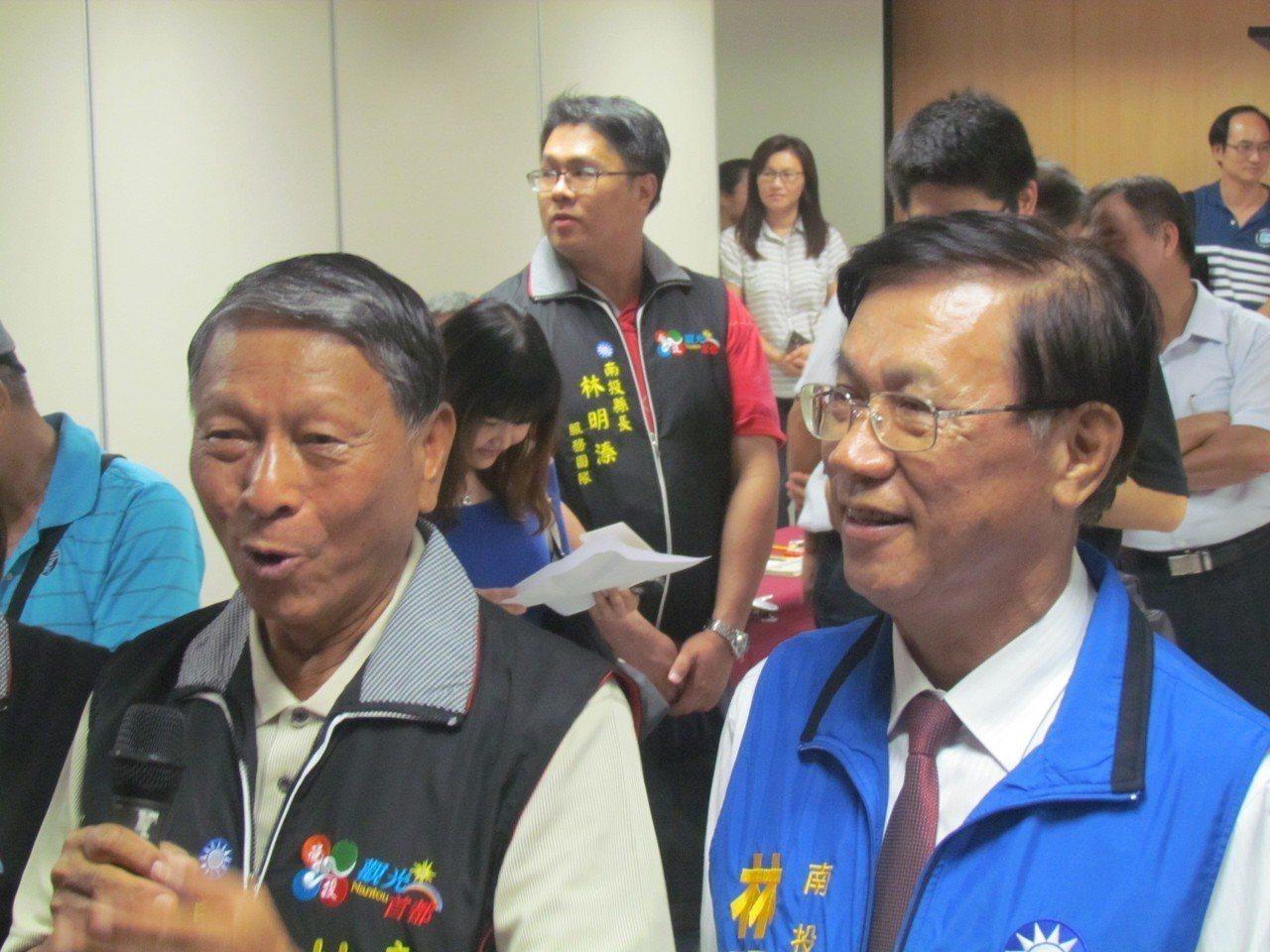 南投縣「老縣長」林源朗(左)出任林明溱競總部主委。記者張家樂/攝影