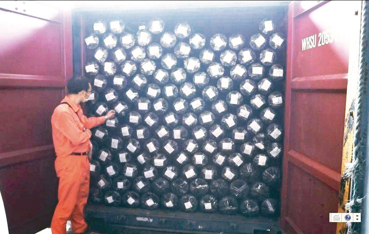 國防部軍備局六日在高雄港攔下裝有數位迷彩布料一萬五千碼的貨櫃。 圖/軍備局提供
