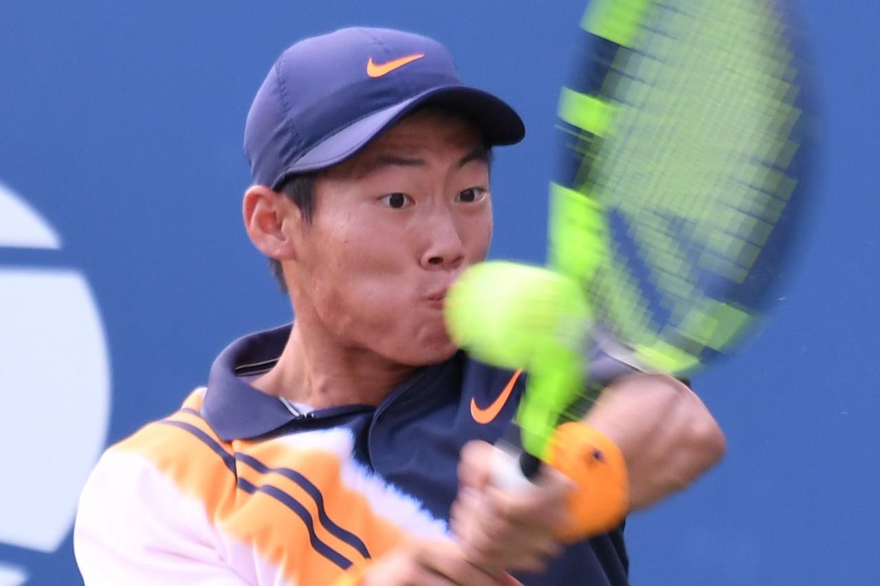 曾俊欣挺進美網青少年單打4強賽。 記者許振輝/攝影