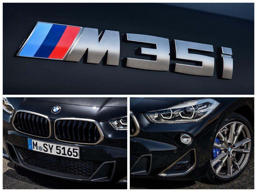BMW X2 M35i搭配19吋或20吋鋁圈,並配置藍色M款剎車卡鉗。 摘自BM...