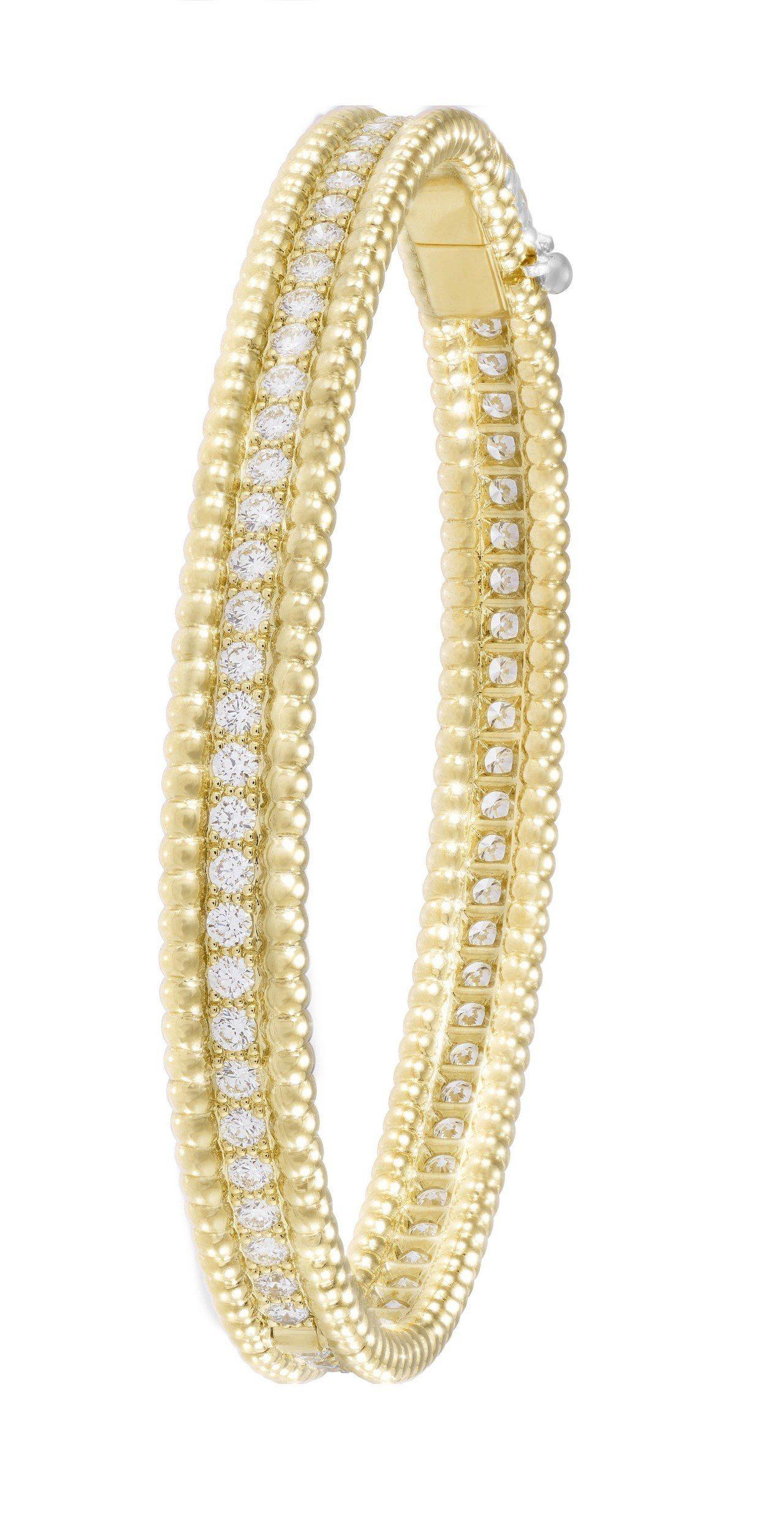 Perlée Diamonds手鐲,黄K金鑲嵌鑽石,67萬5,000元。圖/梵克...