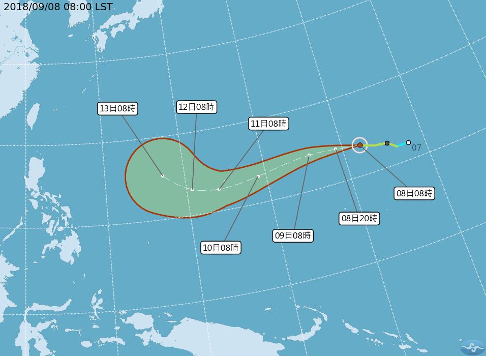 中央氣象局預估,今年第22號輕度颱風山竹將於下周六接近台灣附近海域。圖/翻攝自中...