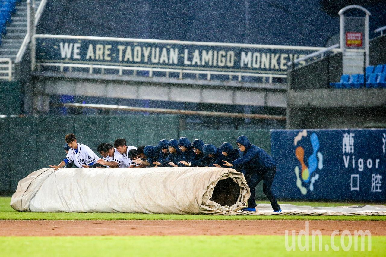 中職晚間在桃園棒球場進行lamigo桃猿對上統一獅的比賽,球賽進行到三局上半因雨...