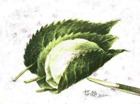 春天的櫻餅 (圖/林嘉翔繪)