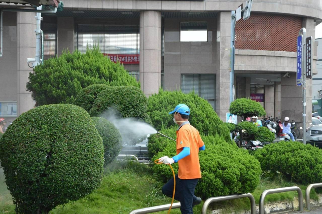 員林清潔隊員對造景植物環境有孳生源之虞的角落再次噴藥。照片/員林市公所提供