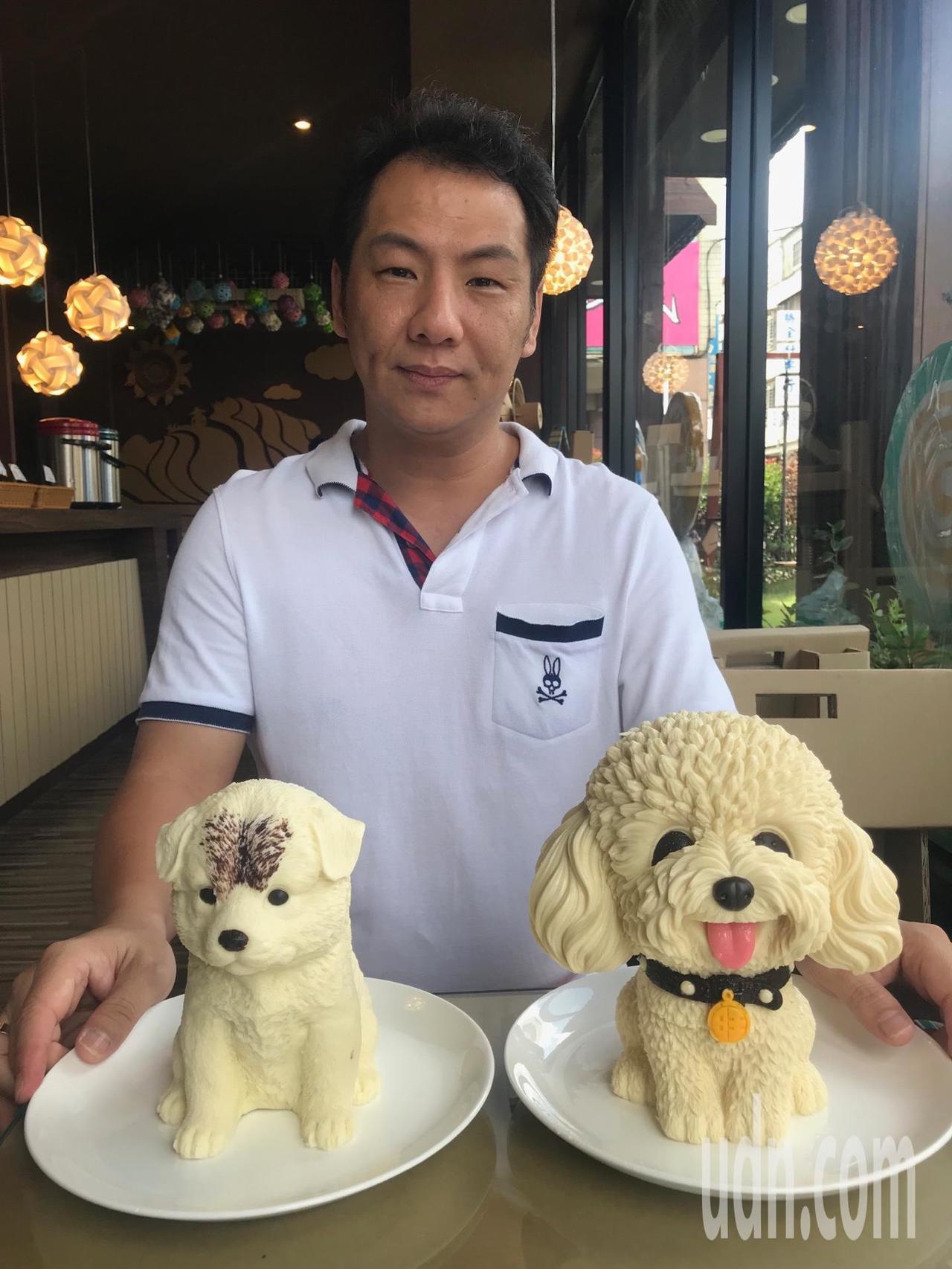 狗冰蛋糕在網路爆紅,原來不少網路賣家的供貨來自彰化縣花壇鄉「阿爸的手工餅」,業者...