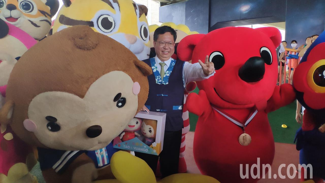 桃園市長鄭文燦等人,也到場為參加賽事的選手們加油。記者李京昇/攝影