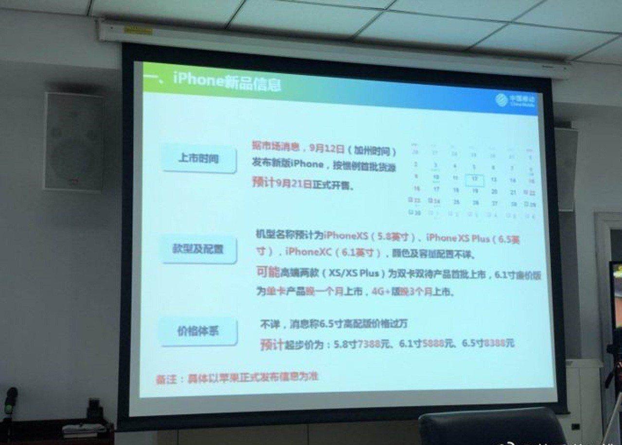 中國移動的內部PPT。 圖/取自雷科技