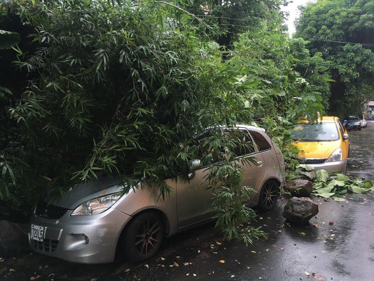 台北市北投區泉源路41巷的山坡禁不住雨水沖刷,邊坡土石滑落,停在路邊的車輛遭波及...