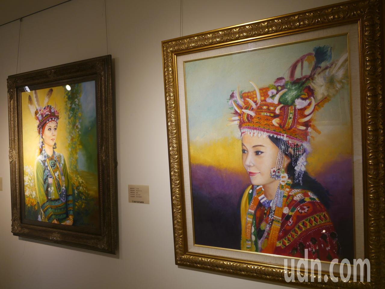 台灣原住民頭飾與服飾色彩鮮豔,油畫顏料堆疊出旺盛生命力。記者徐白櫻/攝影