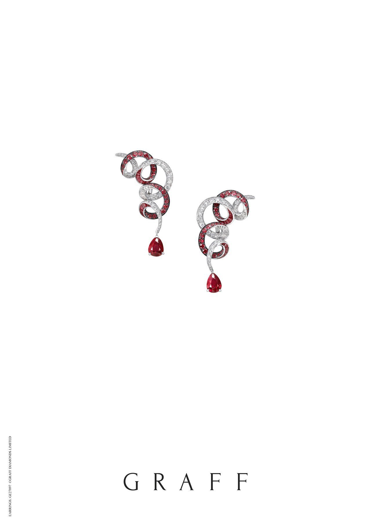 格拉夫多形切割紅寶石和鑽石耳環,鑲嵌紅寶石共11.92克拉,鑽石共4.27克拉,...