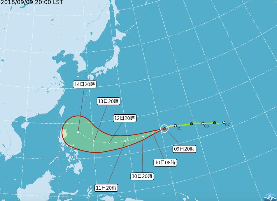 山竹颱風持續逼近。圖/氣象局提供