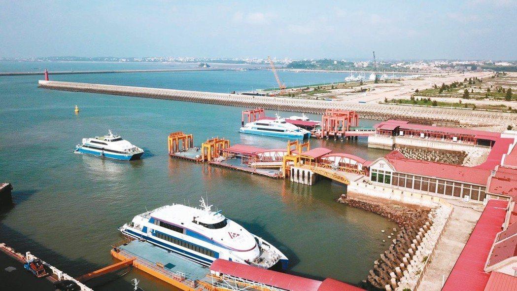 從高空俯瞰「小三通」金門水頭碼頭,承載著兩岸的遊客和希望。 記者葉英豪/攝影