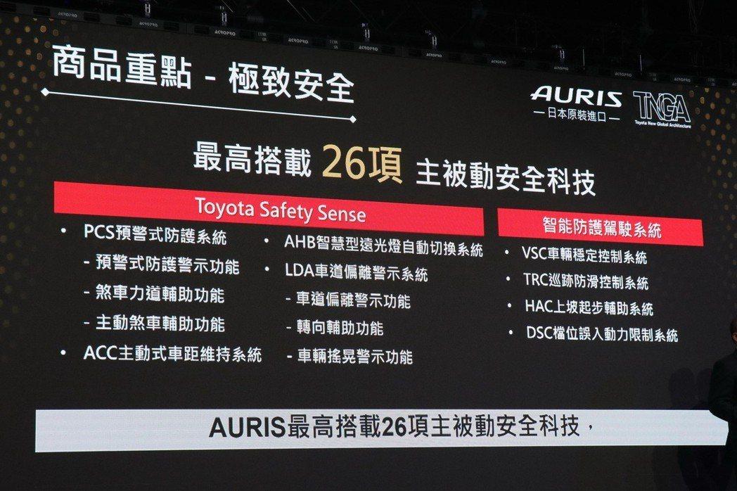 全新AURIS配備優異豐富的安全科技。 記者陳威任/攝影