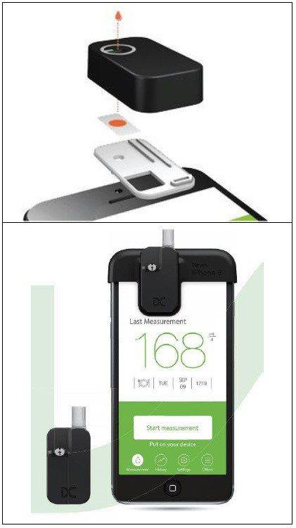 圖3:安盛生科用智慧型手機的鏡頭直接分析血液樣本(上), 並即時產生分析結果(下...