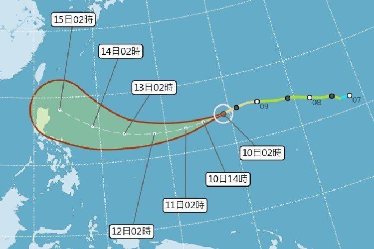 山竹颱風潛勢圖。圖/擷取自中央氣象局網站