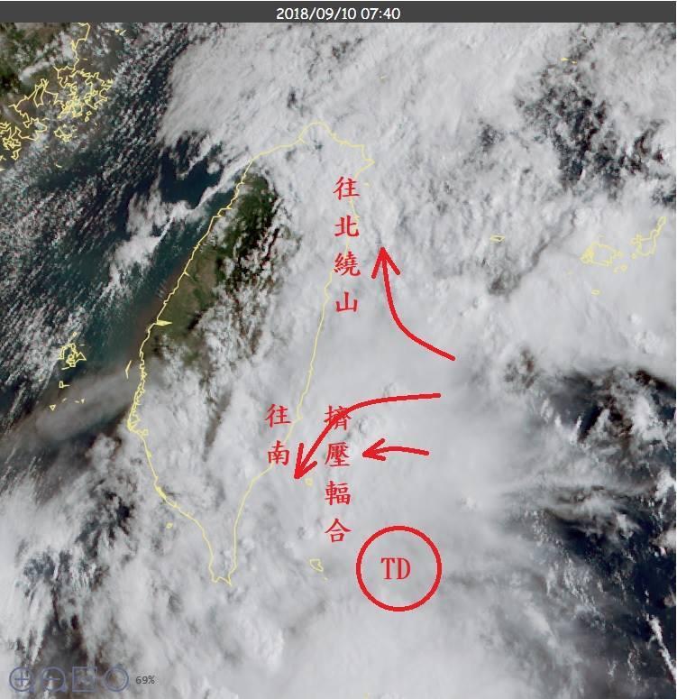 熱帶性低氣壓的外圍氣流受山阻擋的反應。圖/擷自鄭明典臉書