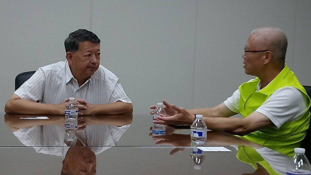 參選新竹市長的無黨籍議長謝文進(右),今天與新民意問政聯盟議員走訪新竹科學園區工...