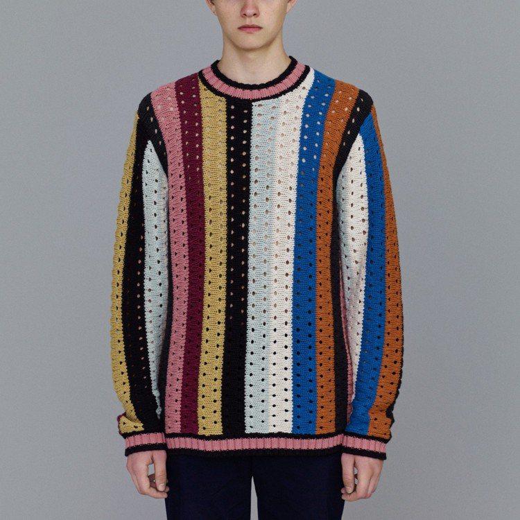 蕭敬騰所穿搭的Kim Jones和GU最終合作系列條紋針織衫,1,490元。圖/...