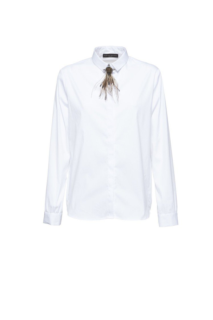 Fabiana Filippi秋冬系列領口羽毛裝飾白色襯衫,22,800元。圖/...