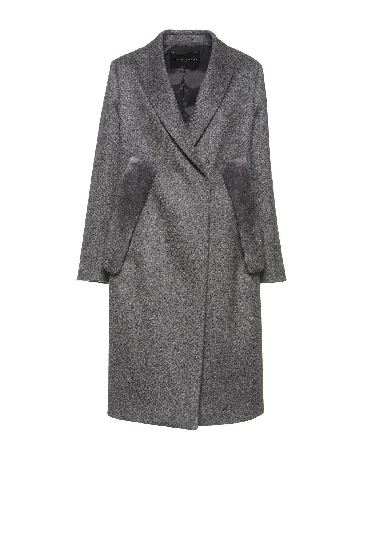 Fabiana Filippi秋冬系列淺灰色喀什米爾羊毛大衣,19萬8,200元...