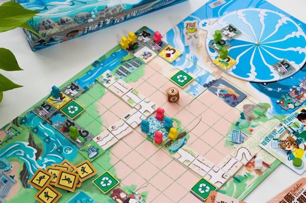 「海洋保育」桌遊設計了十種延伸的生態保育任務,包含海龜復育、鯨豚拯救、海洋吸塵器...