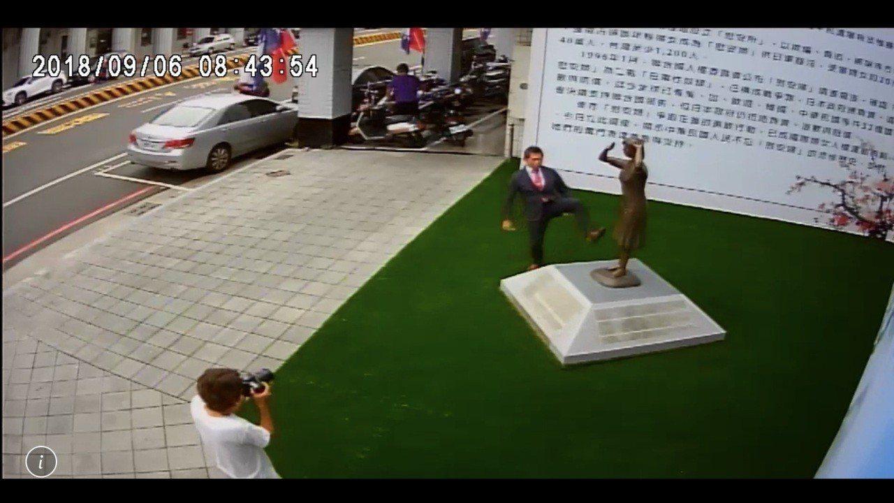 謝龍介進一步公開的監視器畫面顯示,藤井對著慰安婦銅像抬起左腳,畫面左下方還拍攝到...