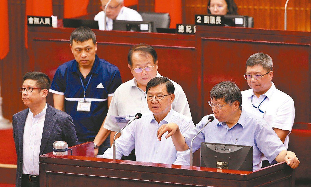 第一果菜批發市場改建案,台北市長柯文哲(前右)表示,預算編列不確實,應該檢討。 ...