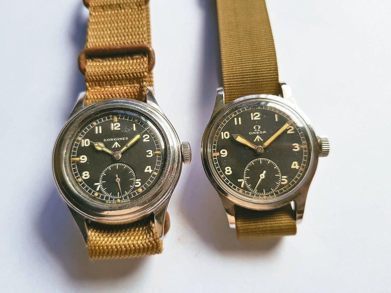 二戰期間英軍所使用的Omega與Longines制式軍表。 圖/曾士昕提供