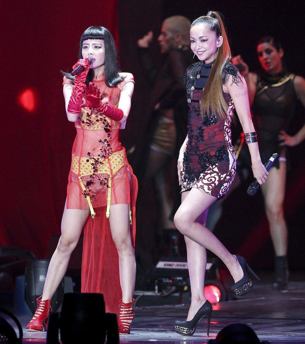 安室曾來台擔任蔡依林演唱會嘉賓。 圖/聯合報系資料照