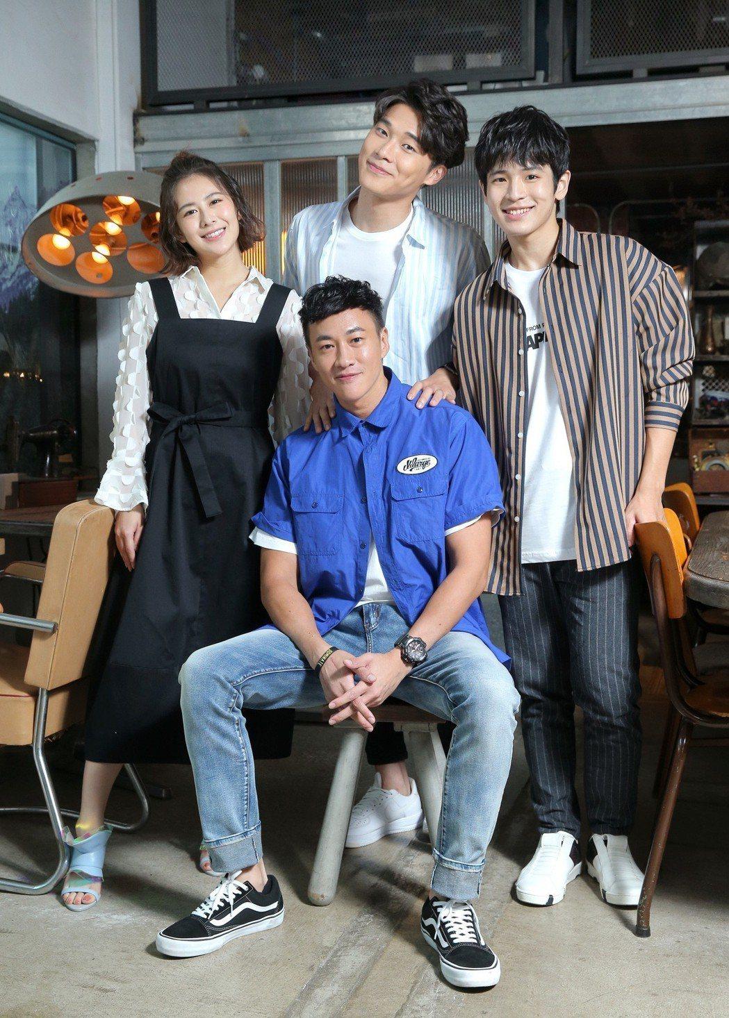 何潤東(前)首當導演就有好成績,帶領張豐豪(右起)、宋緯恩、姚亦晴角逐金鐘。記者