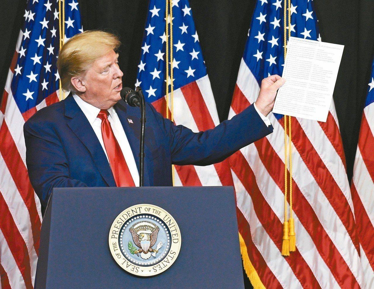 美國總統川普7日在一場募款會上發表談話。川普為期中選舉狂打經濟牌,聲稱在他執政下...