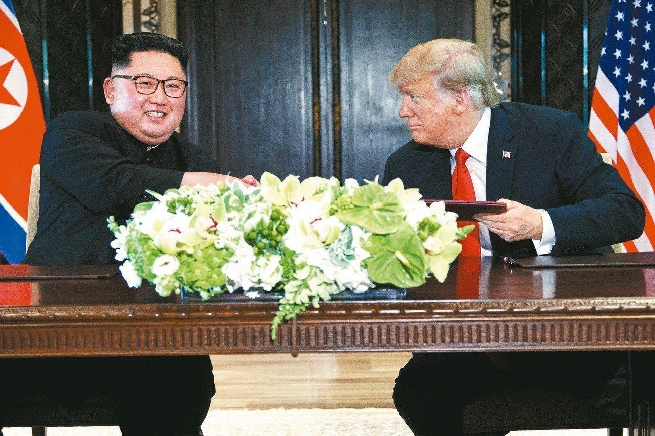 北韓領導人金正恩致函美國總統川普,提議舉行第二次峰會。圖為兩人6月12日在新加坡...