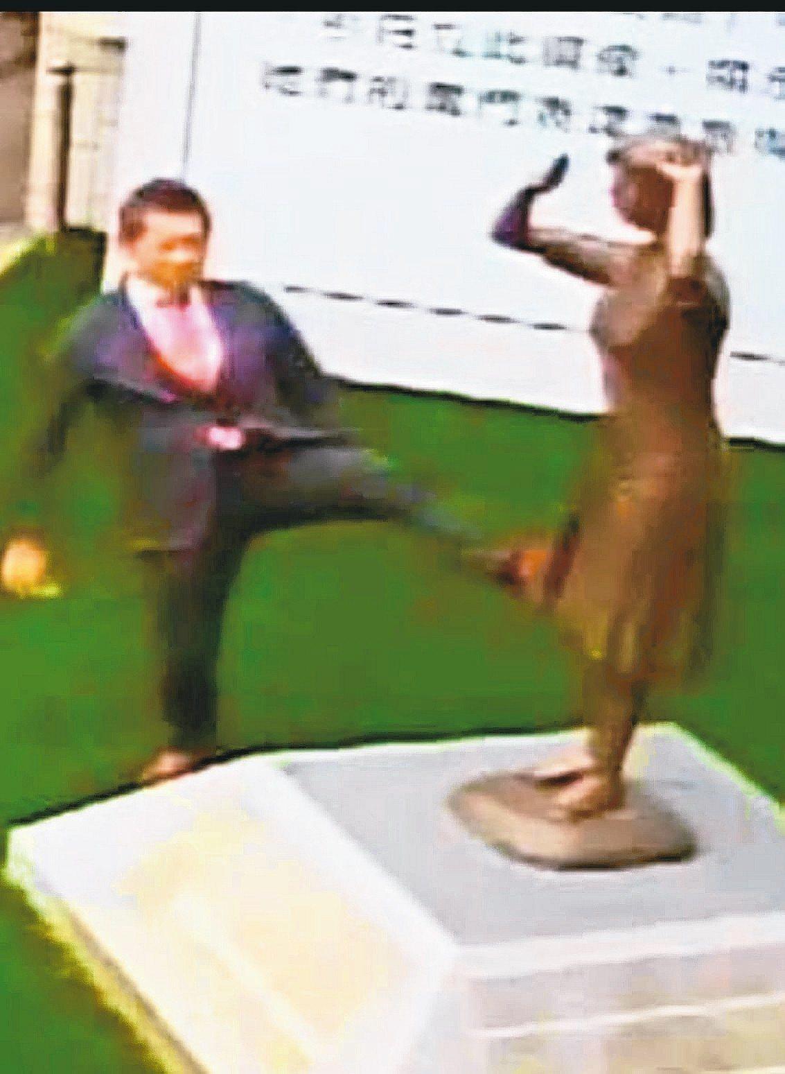 日人藤井實彥本月6日到台南市慰安婦銅像現場,做出腳踹銅像動作,被監視器拍下。 圖...