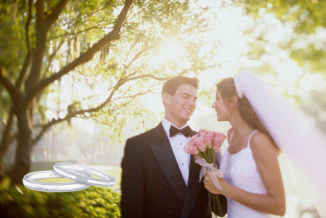 AMC 鑽石婚戒寓含對婚姻感情「恆久遠」的期盼。 AMC 鑽石/提供