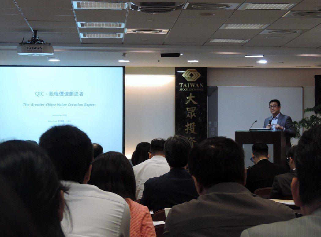 寬量國際創辦人暨執行長李鴻基談IR如何提升股權投資的最大價值。 林凱祥/攝影