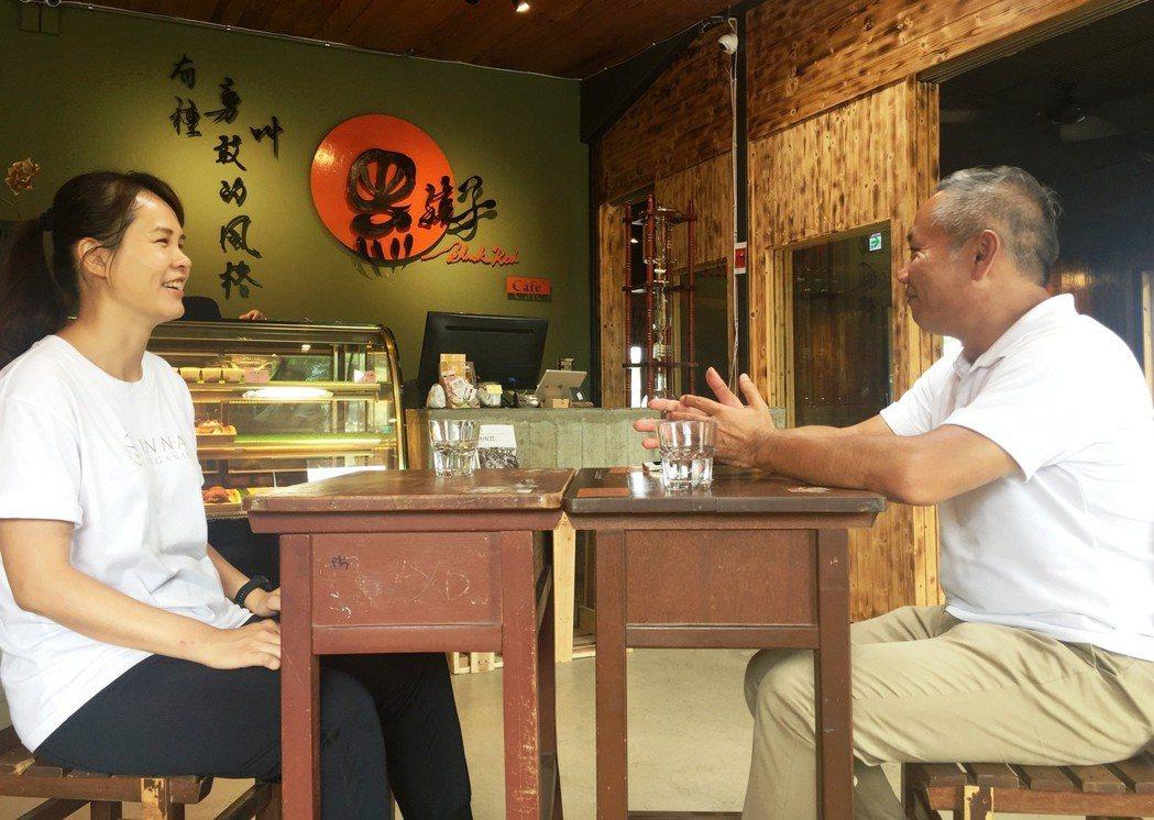孩子的書屋創辦人陳俊朗(右)與童顏有機公司的童顏長潘思璇,在黑孩子咖啡廳討論如何...