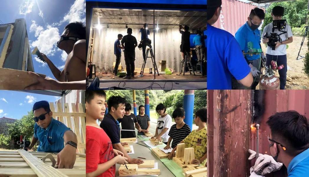 Skills for U改造校園施作過程,更帶著當地國小學生做木凳,體驗木工技藝...