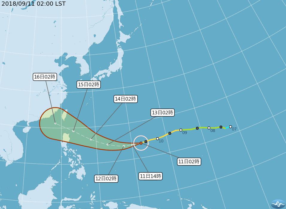 山竹颱風路徑潛勢預測圖。圖/擷自中央氣象局官網