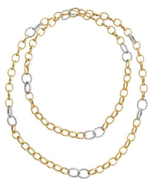 有多種配戴方式的Lorelei Floral Link鑽石項鍊,18K黃金與鉑金...