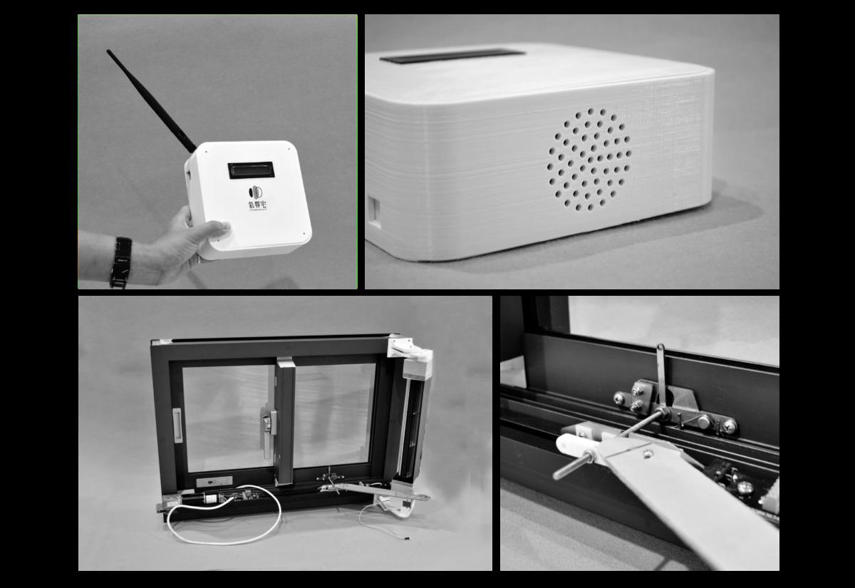 團隊作品呈現,左上及右上是整合式環境空氣因子檢測裝置,左下是整合式自動排風開窗裝...