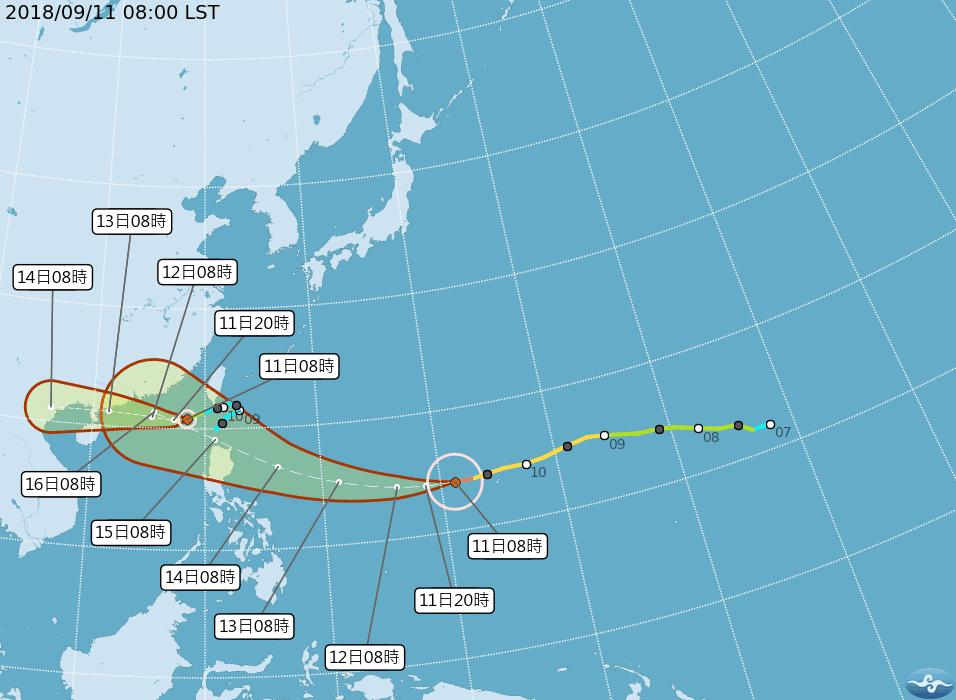 中颱山竹已轉為強烈颱風。 圖/翻攝自中央氣象局網站