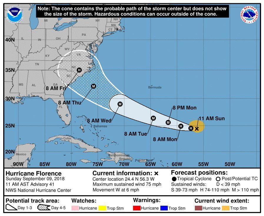 佛羅倫斯颶風路徑。歐新社