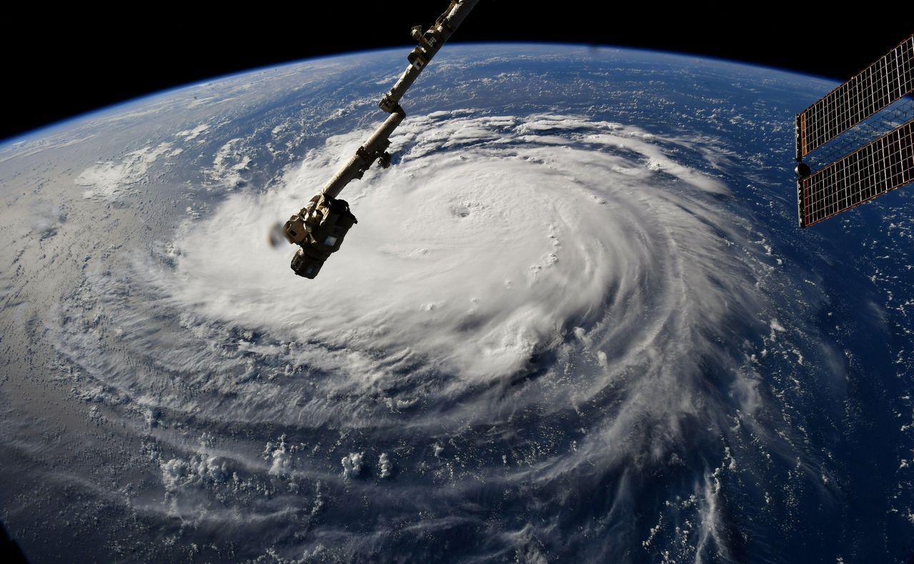 從國際太空站看到的佛羅倫斯颶風結構紮實。法新社